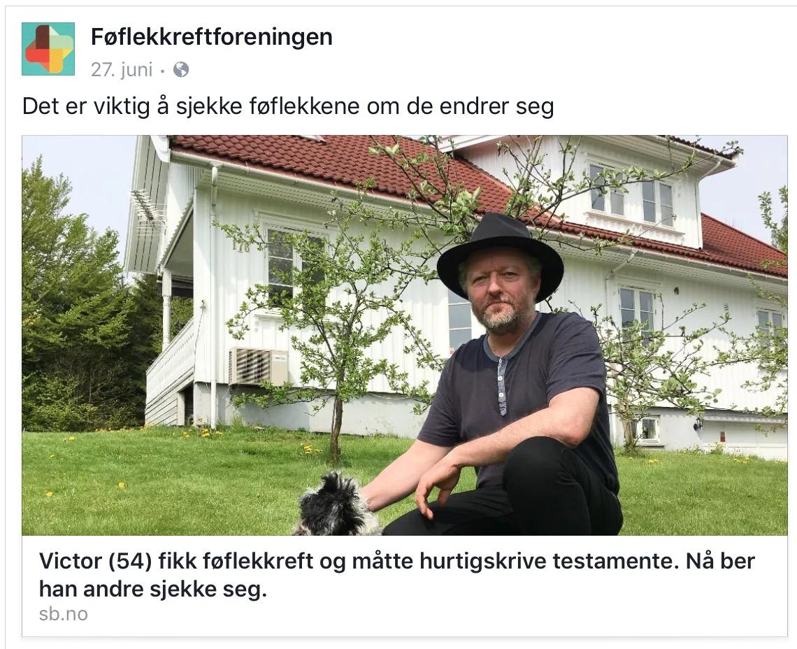 Nyhetsoppslag i Sandefjords Blad: Min krefthistorie