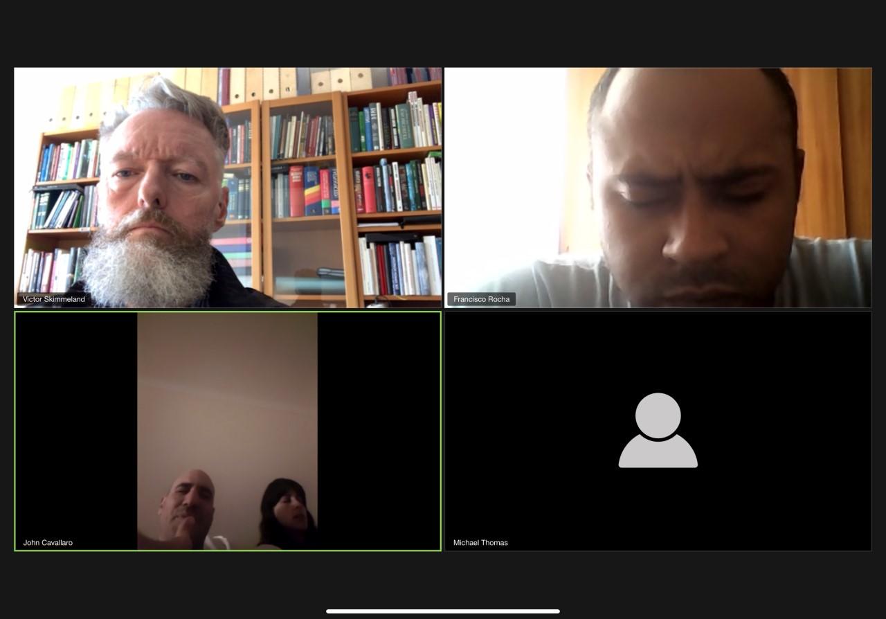 Kingdom Creators er et internasjonalt bønnenettverk som jeg er en del av. Onsdag møttes fire av oss via videtjenesten Zoom. Foto: Privat.
